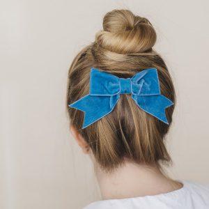 Peacock Velvet Ribbon Bow Hair Clip