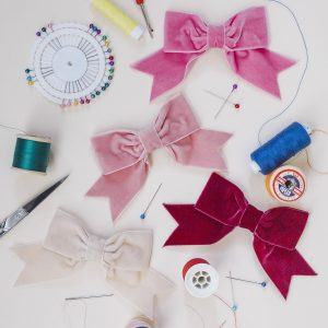Bubblegum Pink Coral Pink Wine Red and Cream Velvet Hair Bows