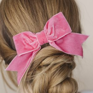 Pink Velvet Hair Bow worn with a bun