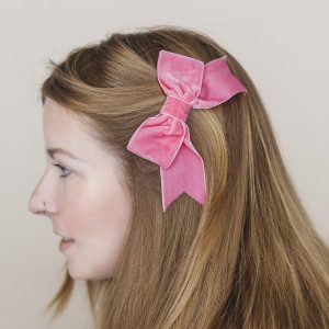 Bubblegum Pink Velvet Ribbon Bow Hair Clip