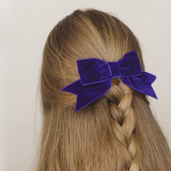 Purple Velvet Ribbon Bow Hair Clip