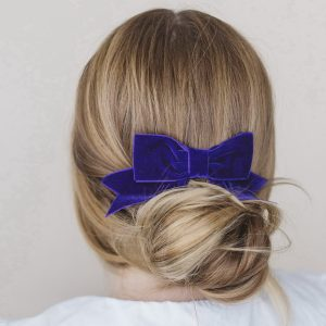 Purple Velvet Ribbon Hair Bow worn with a bun