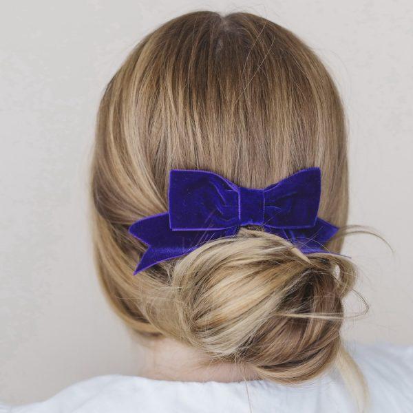 Purple Velvet Ribbon Hair Bow worn with a bun