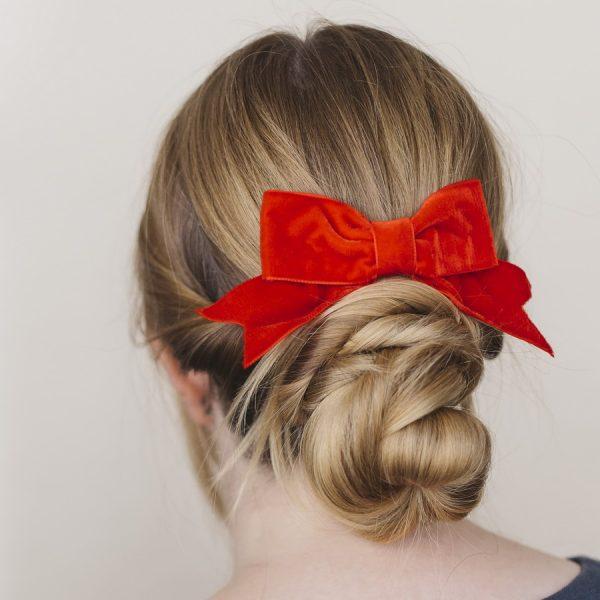 Red Velvet Hair Bow worn with a bun