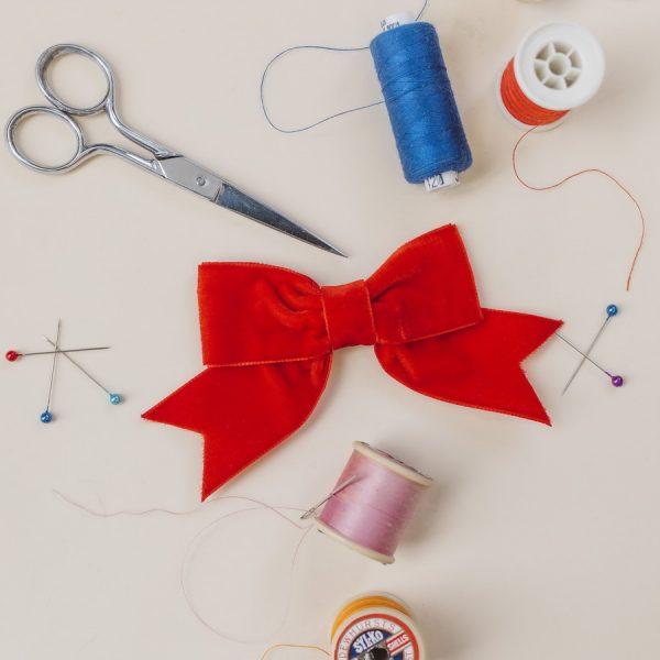 Red Velvet Ribbon Hair Bow