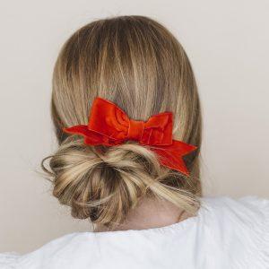 Red Velvet Ribbon Bow Hair Clip