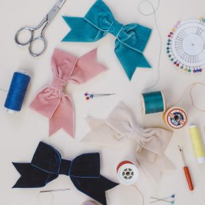 Teal Coral Pink Cream and Navy Blue Velvet Hair Bows
