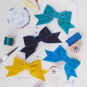 Teal Navy Blue Peacock and Mustard Yellow Velvet Hair Bows