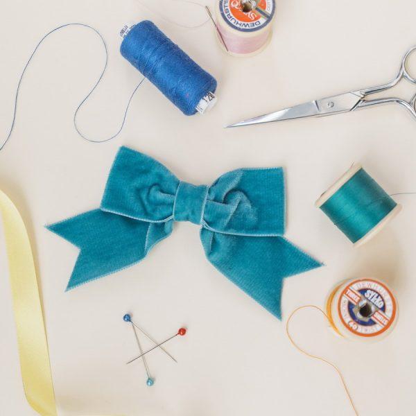 Teal Velvet Ribbon Bow Hair Clip