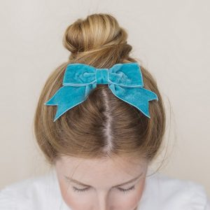Teal Velvet Ribbon Bow Hair Clip
