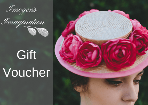 Shop Gift Vouchers online Boater hat with hot pink flowers