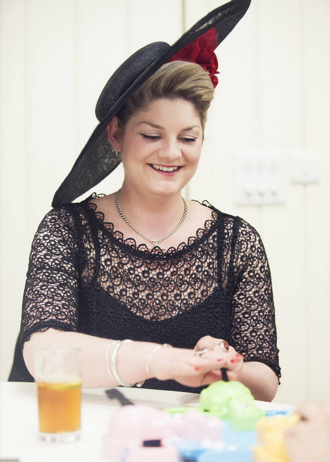 Sophie Cooke wearing an Imogen's Imagination bespoke hat