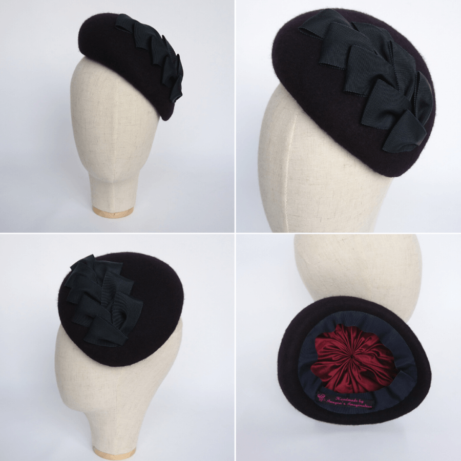 Bespoke Navy Blue Cocktail Hat for a day at the races in Winter