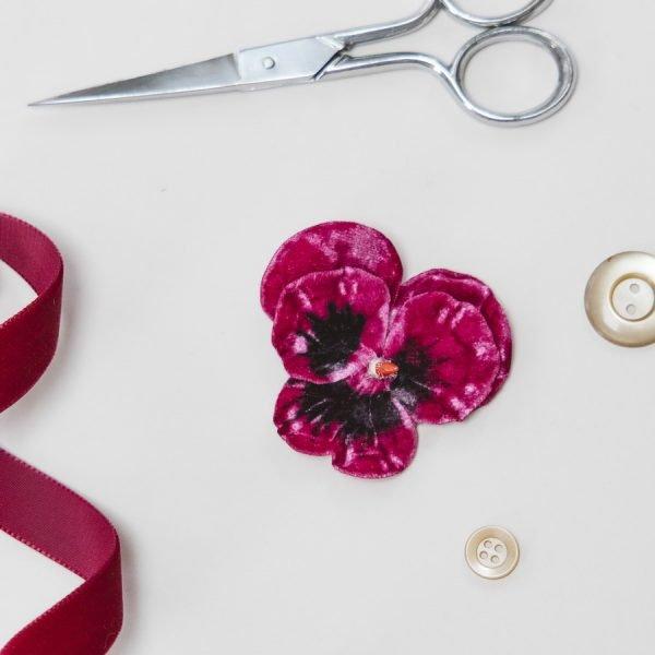 Fuchsia Velvet Flower hair accessory for women and girls