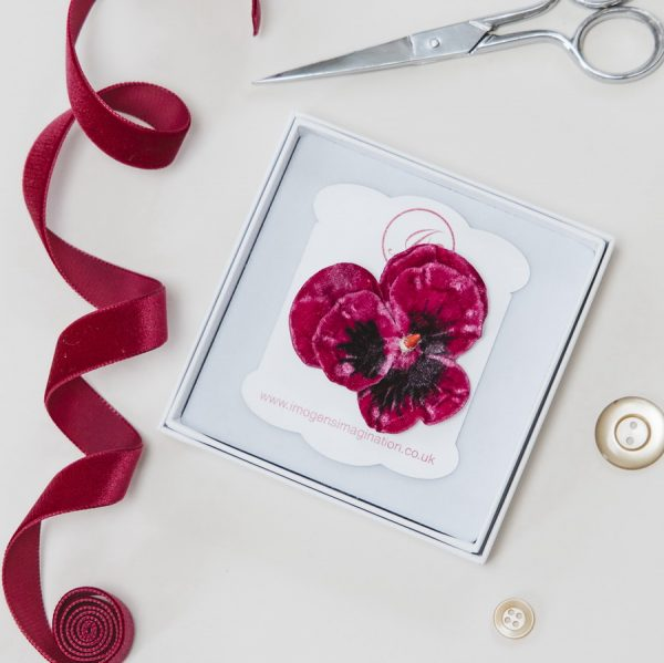 Fuchsia Large Pansy Flower Hair Clip in a Gift Box