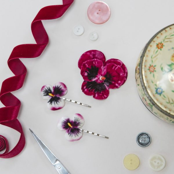 Fuchsia Vintage Style Pansy hair accessories by Imogen's Imagination