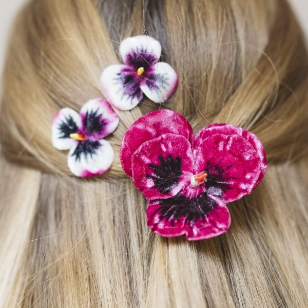 Set of three vintage style pansy hair flowers in Fuchsia