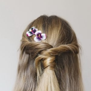 Pink White Pansy Flower Hair Clips worn with a twist ponytail