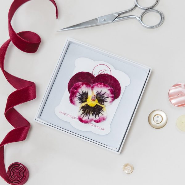 Magenta Large Pansy Flower Hair Clip in a Gift Box