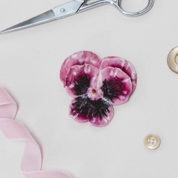 Pink Velvet Flower hair accessory for women and girls