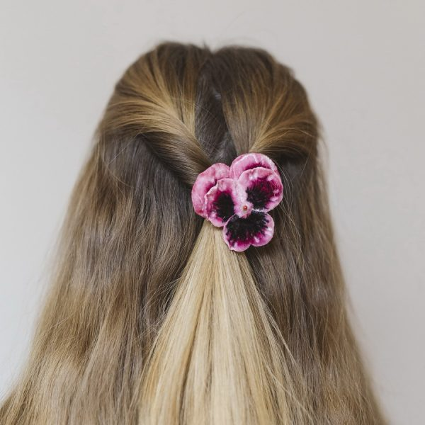 Pink Pansy Flower Hair Clip worn with half up do
