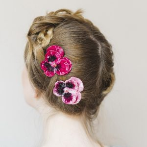 Pink Large Pansy Flower Gift Set hair clips worn with a halo braid