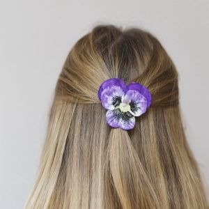 Purple Pansy Flower Hair Clip worn with half up do