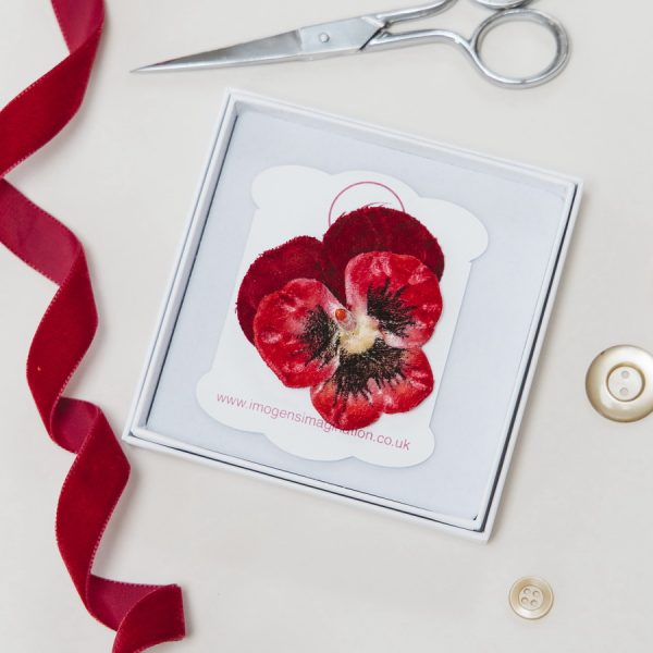 Red Large Pansy Flower Hair Clip in a Gift Box