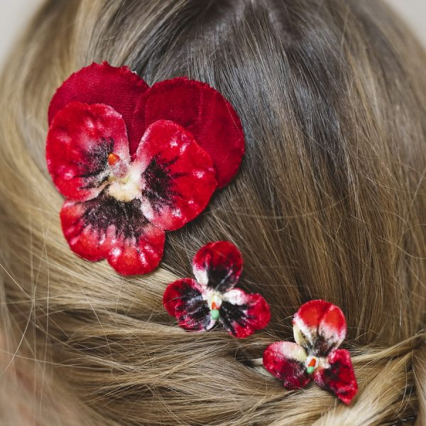 Set of three vintage style pansy hair flowers in Red
