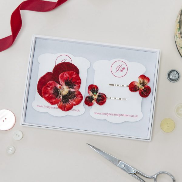 Red Pansy Hair Clip Gift Set in white gift box