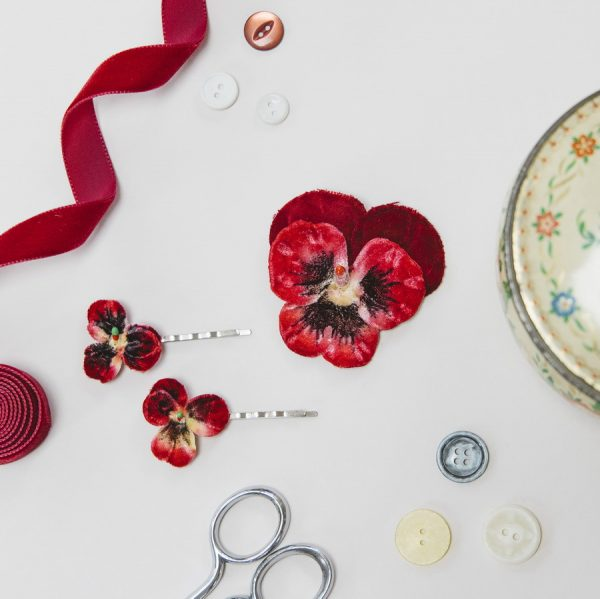Red Vintage Style Pansy hair accessories by Imogen's Imagination