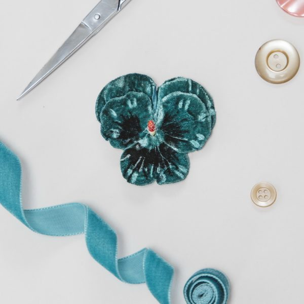 Teal Velvet Flower hair accessory for women and girls