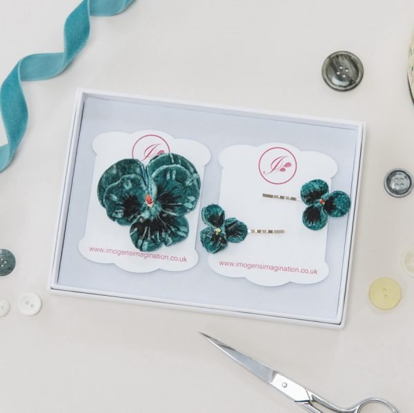 Teal Pansy Hair Clip Gift Set in white gift box