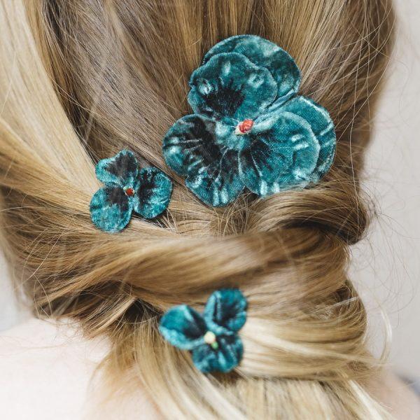 Set of three vintage style pansy hair flowers in Teal