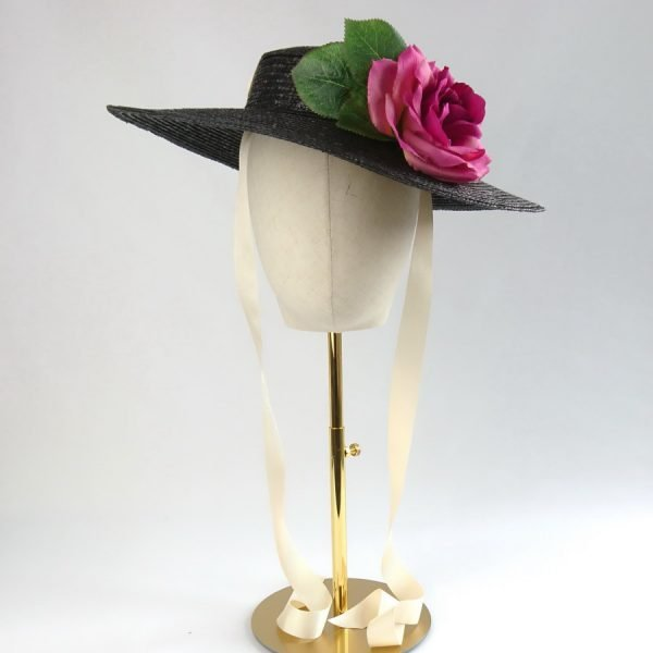 Summer Race Day Hat in Black with a Detachable Dark Pink Rose