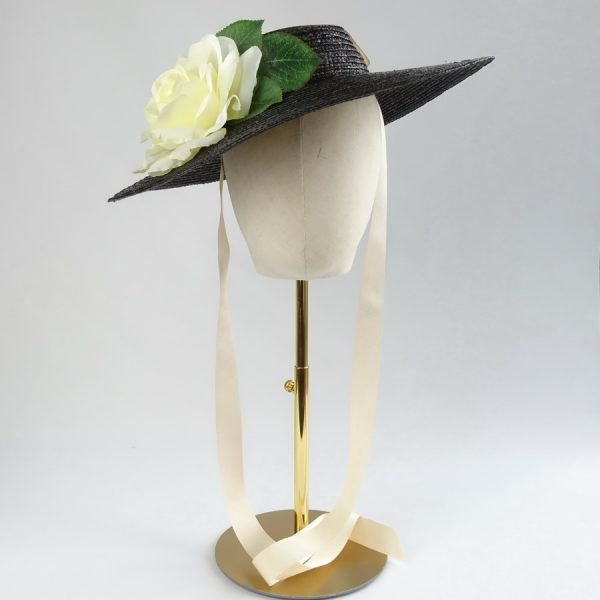 Vintage Style Sun Hat in Black with a Detachable Ivory Rose