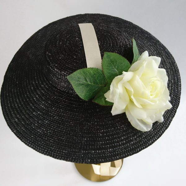 Summer Wedding Hat in Black with a Detachable Ivory Rose