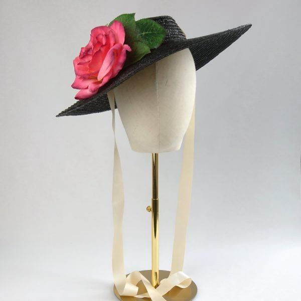Summer Casual Hat in Black with a Detachable Pink Rose