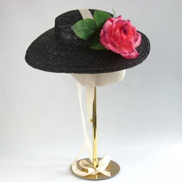 Vintage Style Sun Hat in Black with a Detachable Pink Rose