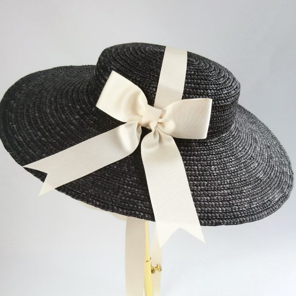 Summer Wedding Hat in Black with a Detachable Ivory Ribbon Bow