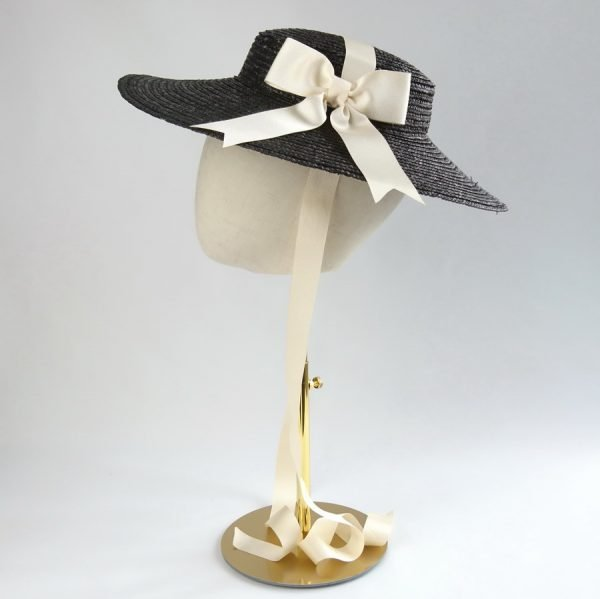 Wedding Hats for Guests in Black with a Detachable Ivory Ribbon Bow