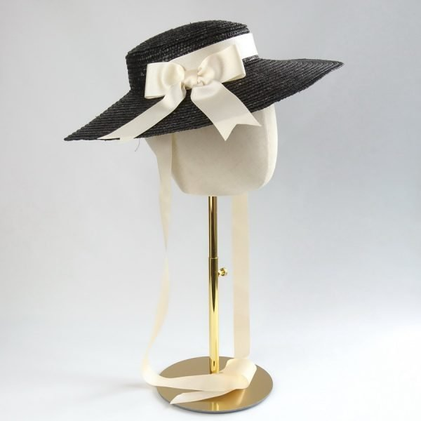 Summer Casual Hat in Black with a Detachable Ivory Ribbon Bow