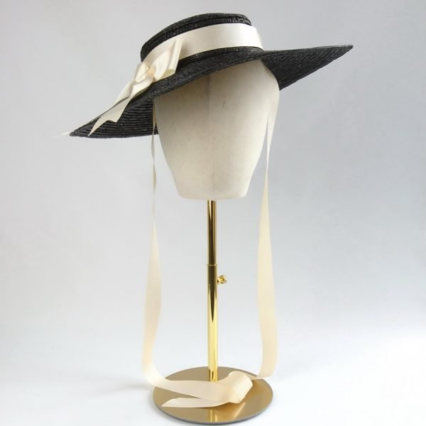Vintage Style Sun Hat in Black with a Detachable Ivory Ribbon Bow