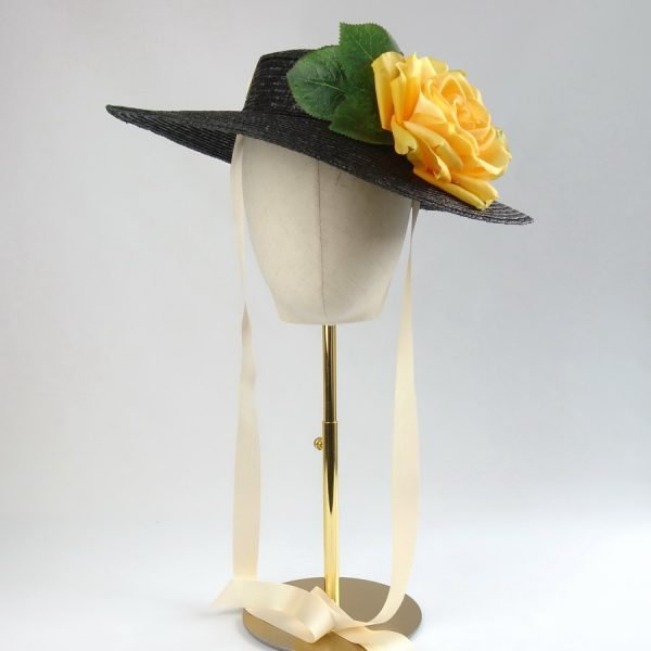 Wedding Hats for Guests in Black with a Detachable Yellow Rose