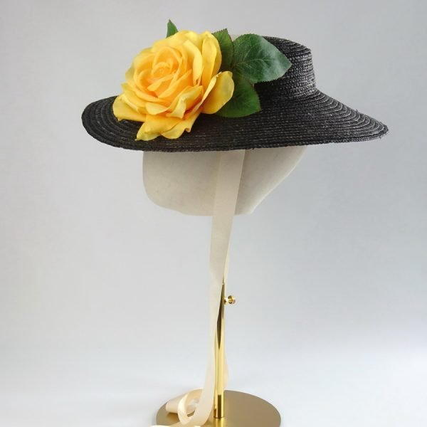Summer Casual Hat in Black with a Detachable Yellow Rose