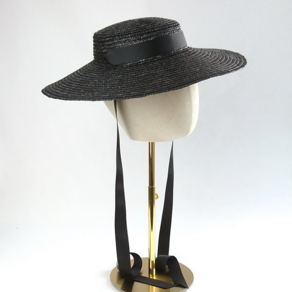 Summer Casual Hat in Black with a Detachable Black Ribbon Bow