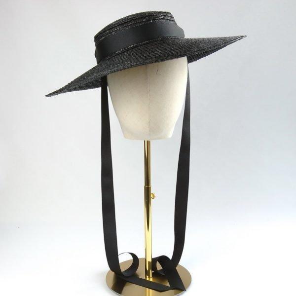 Black Straw Boater Sun Hat