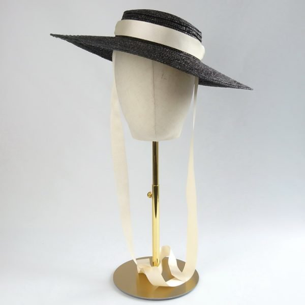 Wedding Hats for Guests in Black with a Detachable Ivory Ribbon Tie