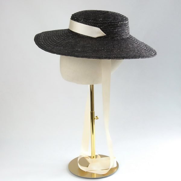 Vintage Style Sun Hat in Black with a Detachable Ivory Ribbon Tie