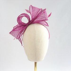 Dark Pink Loop Fascinator with Coque Feathers
